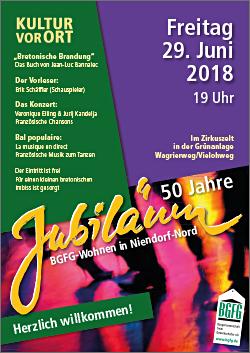 2018 / Jubiläum: 50 Jahre Wohnen bei der BGFG in Niendorf-Nord / Kultur vor Ort / Lesung und Musik