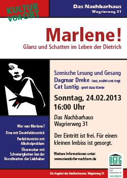 Vorschau Marlene Dietrich, Veranstaltung im Nachbarhaus Niendorf