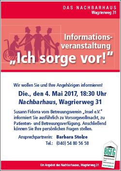 2017 Infoveranstaltung Vorsorgevollmacht und Betreuungsverfügung / im NACHBARHAUS in Niendorf-Nord