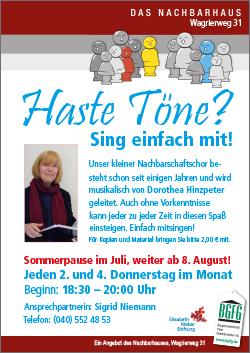 2019 Haste Töne? / Nachbarschaftschor in Niendorf Nord / Wagrierweg 31